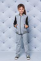 Спортивный костюм с бомбером детский светло серый