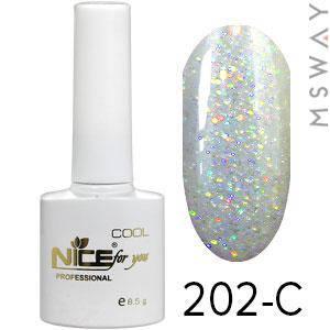 NICE Гель-лак Cool белый флакон 8.5ml Тон 202-C белый перламутр синие блестки, фото 2