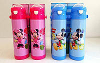 Детский термос Disney с трубочкой-поилкой на  0,5л (Мини Маус и Микки Маус)