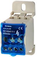 Блок распределительный e.sn.pro. 80 на DIN-рейку, 80А (вход 1*6,,,16 кв.мм/выход 4*2,5...6, 2*2,5...16 кв.мм)