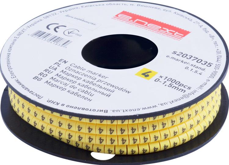 """Маркер кабельный e.marker.stand.0.1.5.4, 0-1,5 кв.мм, """"4"""", 1000 шт Енекст [s2037035]"""