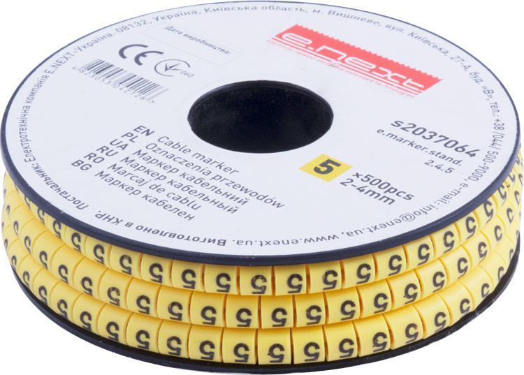 """Маркер кабельный e.marker.stand.2.4.5, 2-4 кв.мм, """"5"""", 500 шт Енекст [s2037064]"""