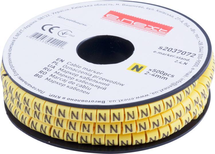 """Маркер кабельный e.marker.stand.2.4.N, 2-4 кв.мм, """"N"""", 500 шт Енекст [s2037072]"""