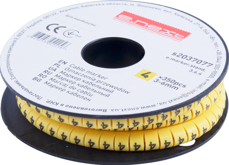 "Маркер кабельный e.marker.stand.3.6.4, 3-6 кв.мм, ""4"", 350 шт ENEXT [s2037077]"