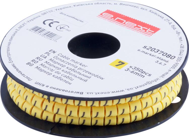 """Маркер кабельный e.marker.stand.3.6.7, 3-6 кв.мм, """"7"""", 350 шт Енекст [s2037080]"""