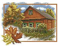 Набор для вышивки крестом Времена года - осень. Размер: 22*17.5 см