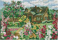 Набор для вышивки крестом Дом в летнем саду. Размер: 36*25 см