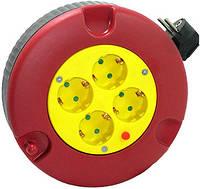 Удлинитель e.es.ring4.4.3.z.h.b рулеточного типа круглом корпусе 4, 4 гнезда, 3м с з/к защитой от перегрузки, baby protect, провод 3х1,5кв.мм ENEXT