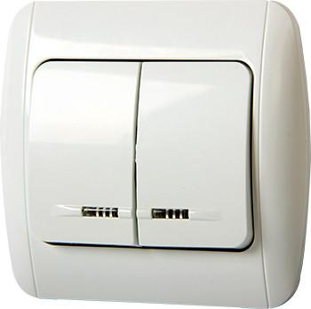 Выключатель e.install.stand.812L+f.cer двухклавишный с подсветкой с рамкой ENEXT [s035041c]