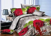 Полуторный комплект постельного белья из ранфорса R2210 Красная роза