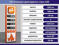 Световая рекламная стела для АЗС со светодиодными табло 4500 х 1600 мм