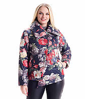 Женская куртка стильная демисезонная цветочный принт 50, 52, 54 р