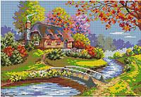 Набор для вышивки крестом Домик у реки. Размер: 28,7*20 см