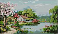Набор для вышивки крестом Дом у пруда. Размер: 93*54 см