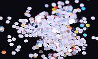 """Сухие блестки """"шестигранник"""", цвет белый, 10 г, 4 мм"""