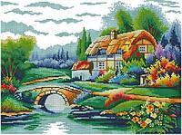 Набор для вышивки крестом Дом у озера. Размер: 34,5*26 см