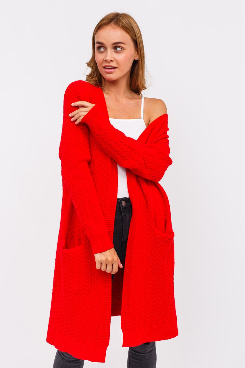 Плотный женский кардиган P-M - красный цвет, XL/XXL (есть размеры)