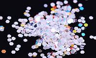 """Сухие блестки """"шестигранник"""", цвет белый, 25 г, 4 мм"""
