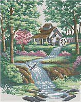 Набор для вышивки крестом Тихий ручей. Размер: 28*35,5 см