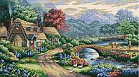 Набор для вышивки крестом Горный пейзаж. Размер: 40*22 см