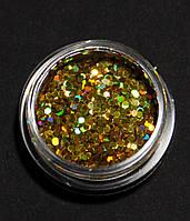 """Сухие блестки """"шестигранник"""", цвет золото, 10 г, 4 мм"""