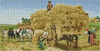 Набор для вышивки крестом На сеновале. Размер: 58*30 см