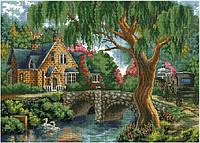 Набор для вышивки крестом Уютный дом с садом и прудом. Размер: 44*31,8 см