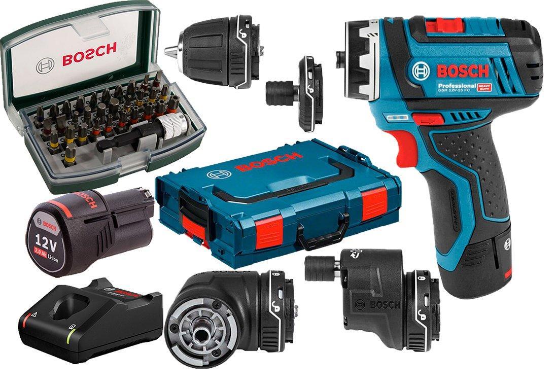 Акумуляторний шуруповерт Bosch GSR 12V-15 FC + 2 акб + GAL 12V-40 + набір 32 біт + 4 насадки + L-Boxx 102 (06019F600D)