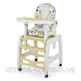 Стульчик для кормления 3в1. Трансформер. Столик+стульчик+качеля. Bambi M 1563-11 Бежевый