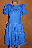 Нарядное платье из жаккарда, р. 44 электрик