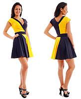 Платье два цвета, черный желтый р.S,M