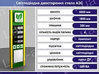 Световая рекламная стела для АЗС со светодиодными табло 6000 х 1800 мм