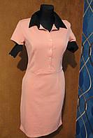 Деловое платье на пуговках с коротким рукавом персик р. 46