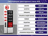 Световая рекламная стела для АЗС со светодиодными табло 5000 х 1600 мм