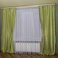 Готовые шторы в спальню, лёгкие салатовые