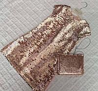 Платье расшито пайетками с сумочкой для девочек, 2-5 лет, 450/420 (цена за 1 шт. + 30 гр.)