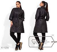 Длинное пальто-стежка с потайной молнией в большом размере размеры 42,44,46,48, 50, 52, 54, 56-58, 60-62