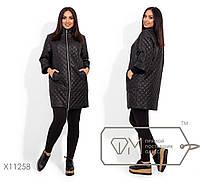 Стеганное пальто без капюшона с рукавами-реглан 3/4 в большом размере 42,44,46,48, 50, 52, 54, 56-58, 60-62