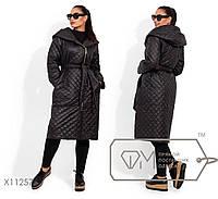 Длинное пальто с капюшоном и поясом в большом размере размеры 42,44,46,48, 50, 52, 54, 56-58, 60-62