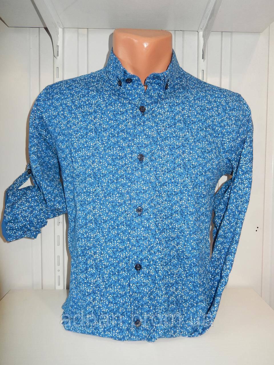 Рубашка мужская, рукав трансформер, мелкий узор, стрейч 001 \ купить рубашку