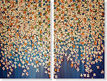 Репродукция модульной картины диптих «Цветовой ковёр на голубом»