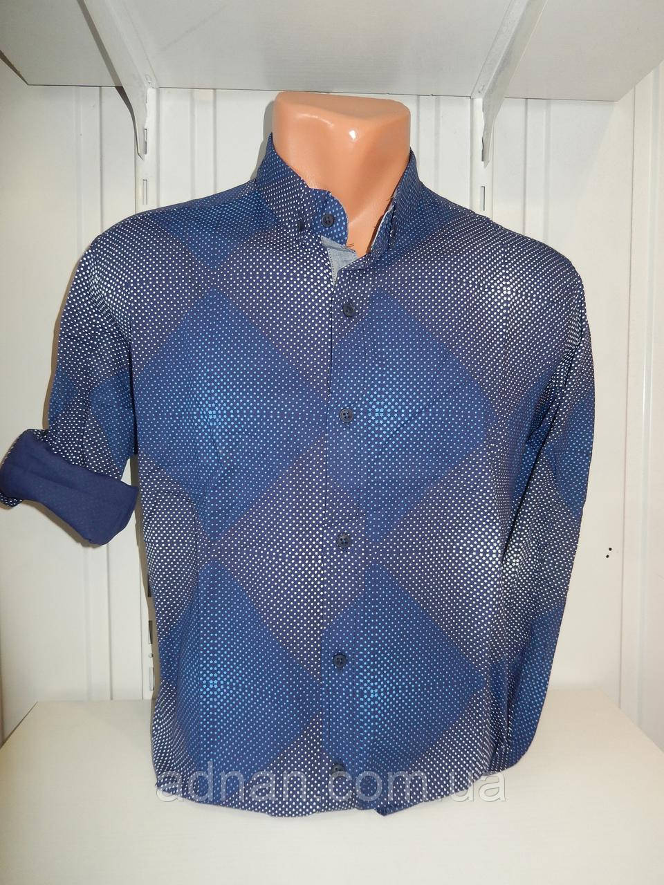 Рубашка мужская, рукав трансформер, мелкий узор, стрейч 002 \ купить рубашку