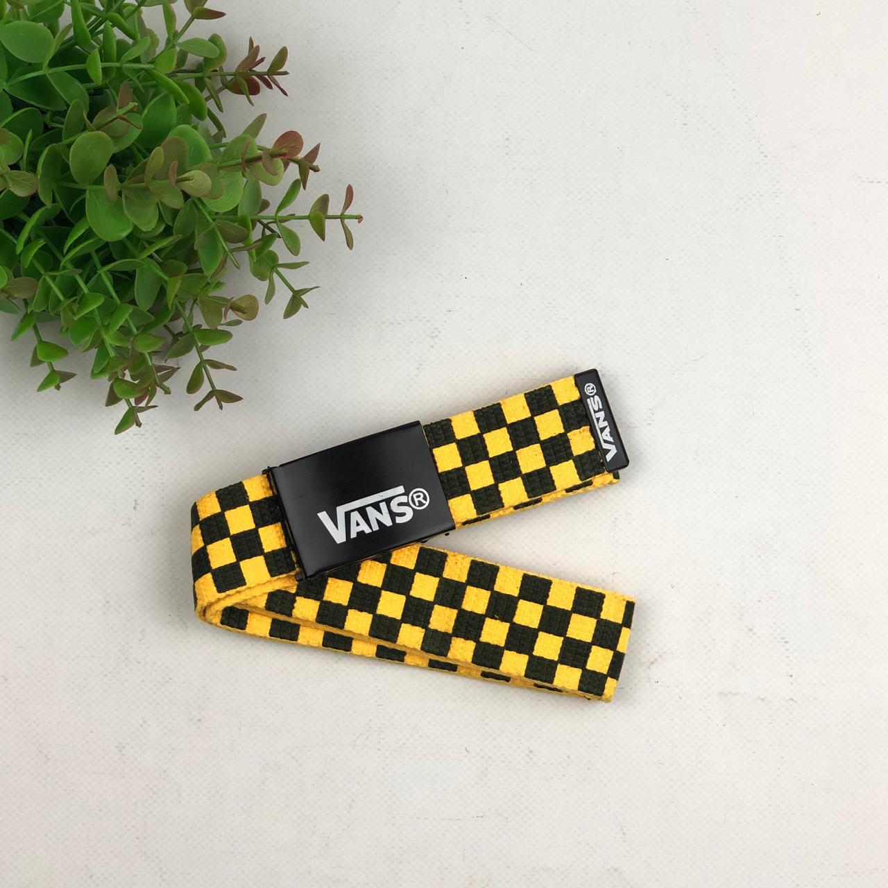 Ремень Пояс Vans клетка  - Желтый Черный 105 см