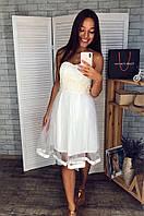 Платье женское фатин молочное 2706