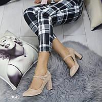 Туфли женские бежевые замшевые  13049, фото 1