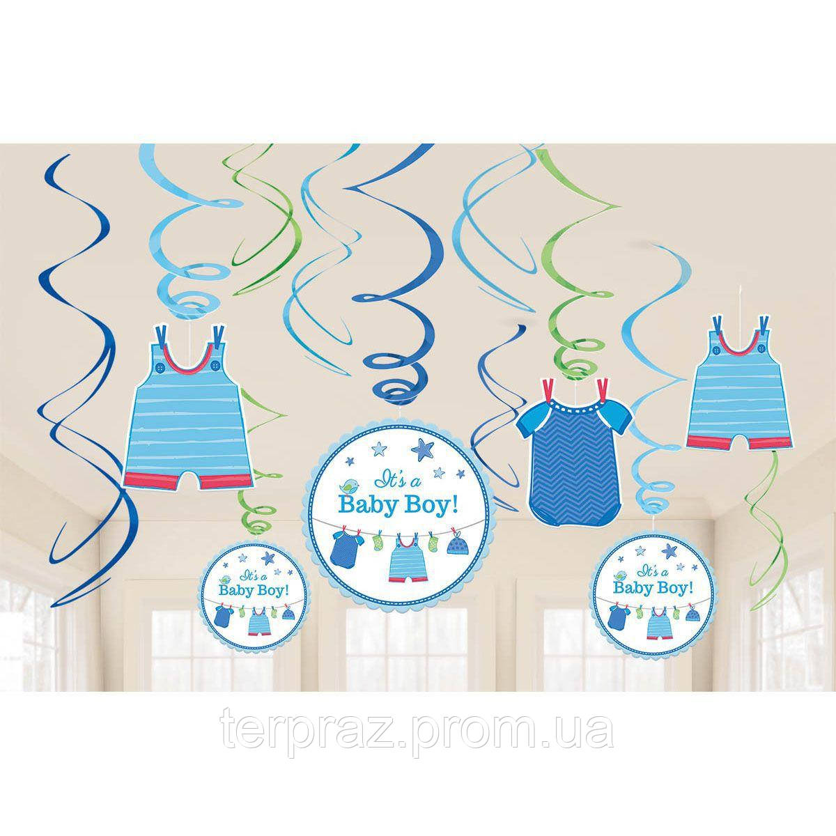 Аксессуары для праздника подвески, фанты  спираль с рождением малыш 46-60см 12шт/а