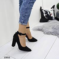 Туфли женские черные замшевые  13053