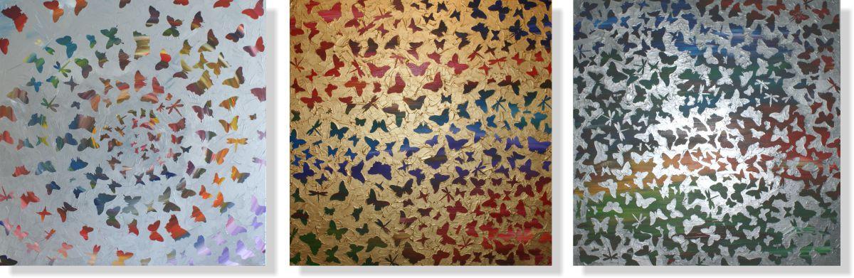 Репродукция модульной картины триптих «Бабочки 1»