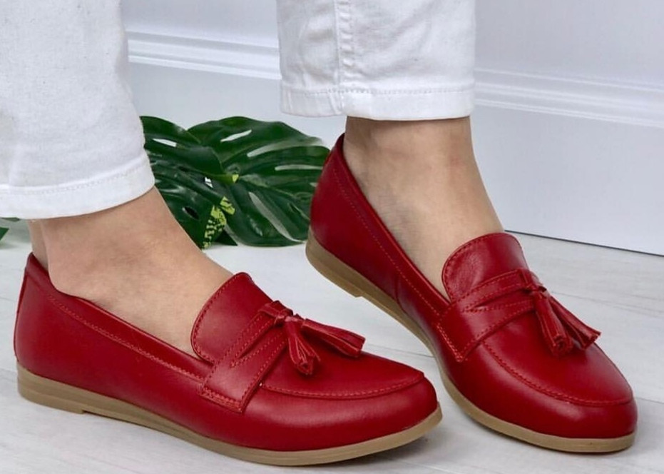 Супер Лоферы!  Весна Лето 2020! Натуральная мягкая кожа туфли женские Loafer красные