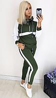 Спортивный костюм хаки с контрастными вставками, с 42-52 размер, фото 1